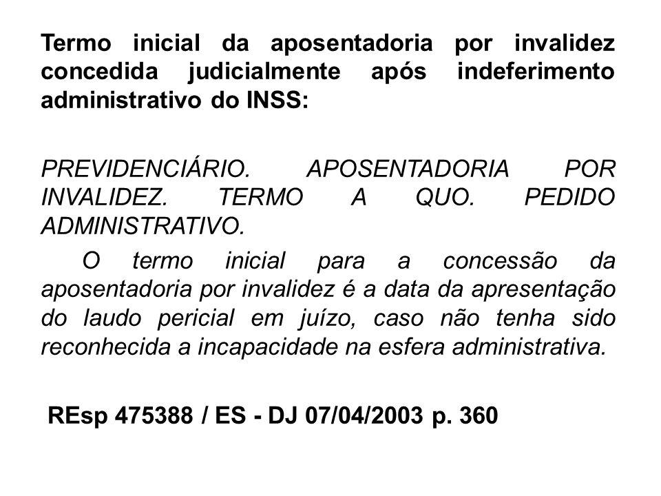 Termo inicial da aposentadoria por invalidez concedida judicialmente após indeferimento administrativo do INSS: PREVIDENCIÁRIO. APOSENTADORIA POR INVA