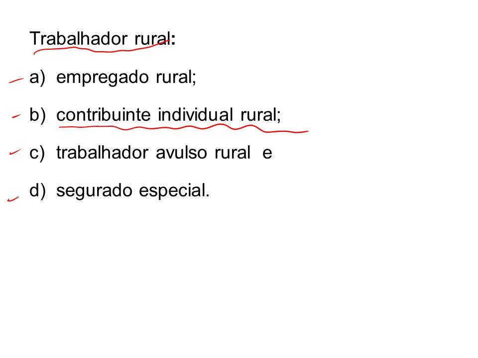 Trabalhador rural: a)empregado rural; b)contribuinte individual rural; c)trabalhador avulso rural e d)segurado especial.