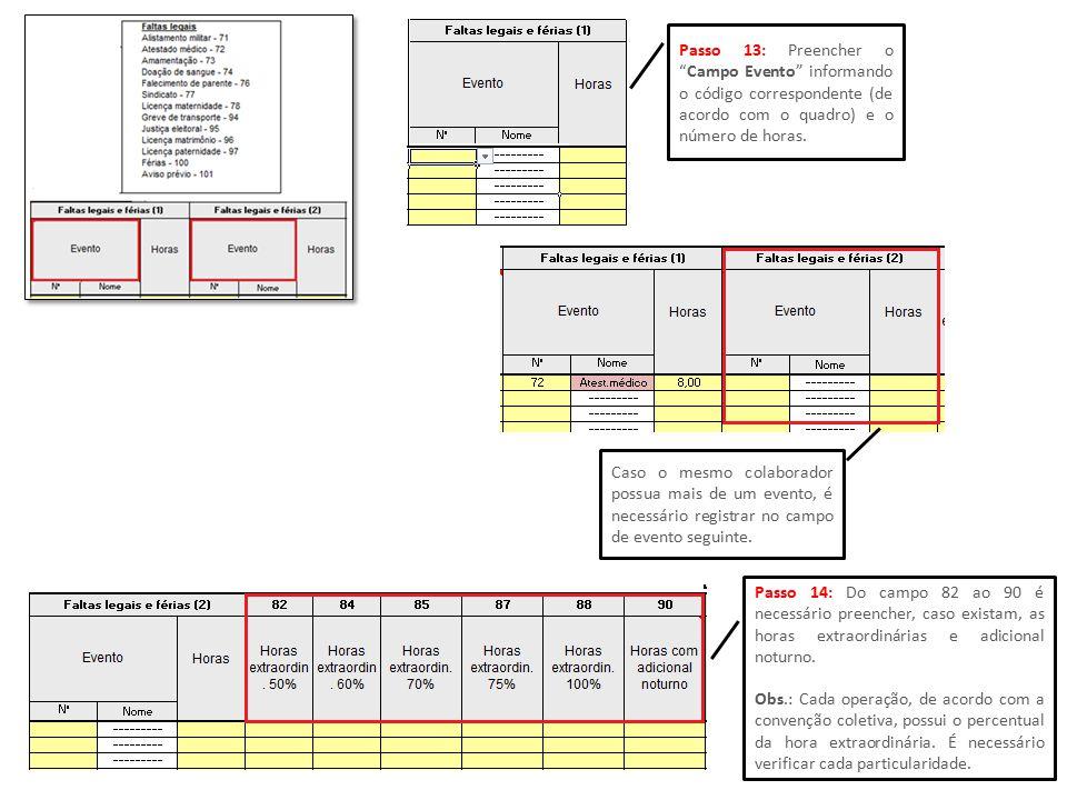 """Passo 13: Preencher o """"Campo Evento"""" informando o código correspondente (de acordo com o quadro) e o número de horas. Caso o mesmo colaborador possua"""