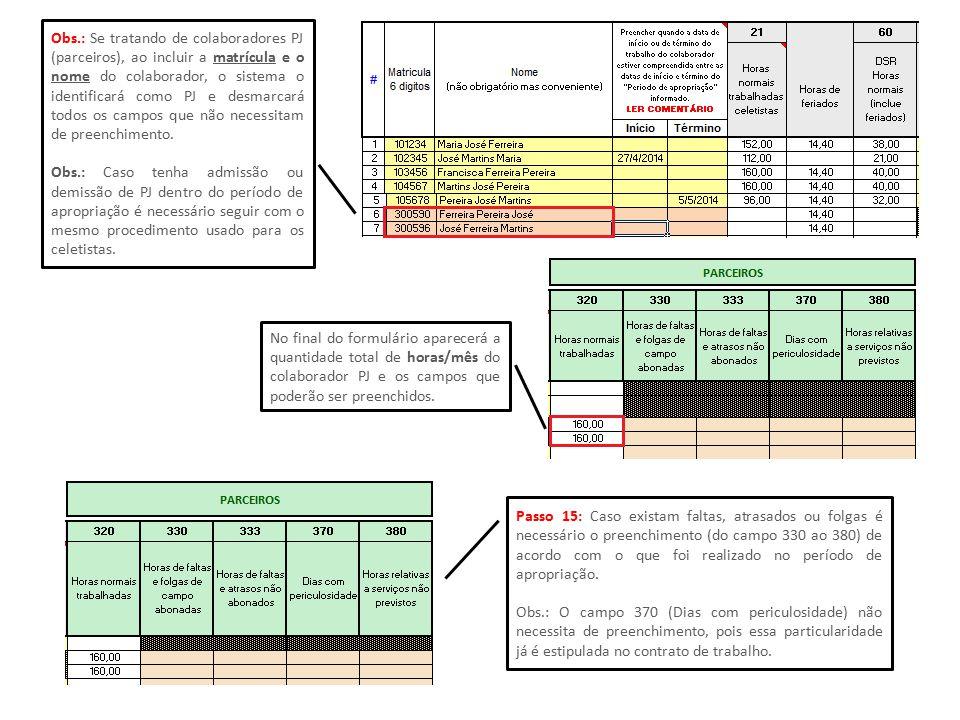 Obs.: Se tratando de colaboradores PJ (parceiros), ao incluir a matrícula e o nome do colaborador, o sistema o identificará como PJ e desmarcará todos