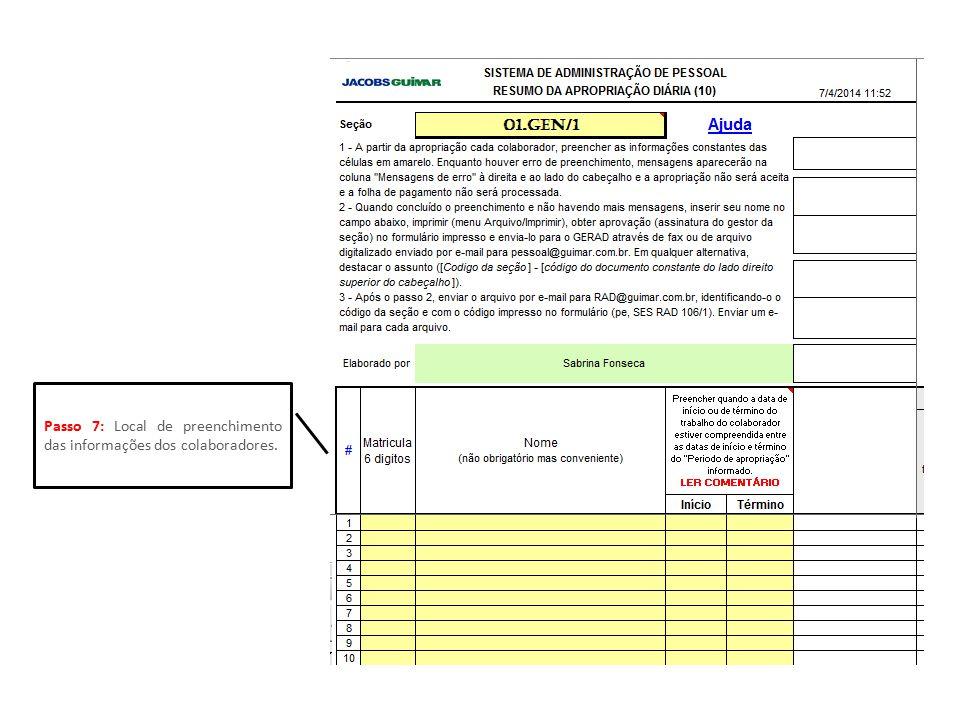 Passo 7: Local de preenchimento das informações dos colaboradores.