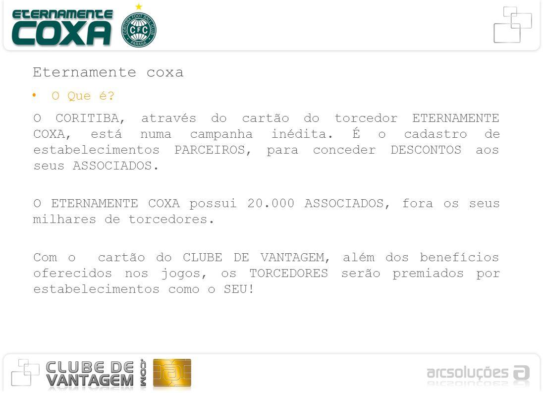 Eternamente coxa O CORITIBA, através do cartão do torcedor ETERNAMENTE COXA, está numa campanha inédita.