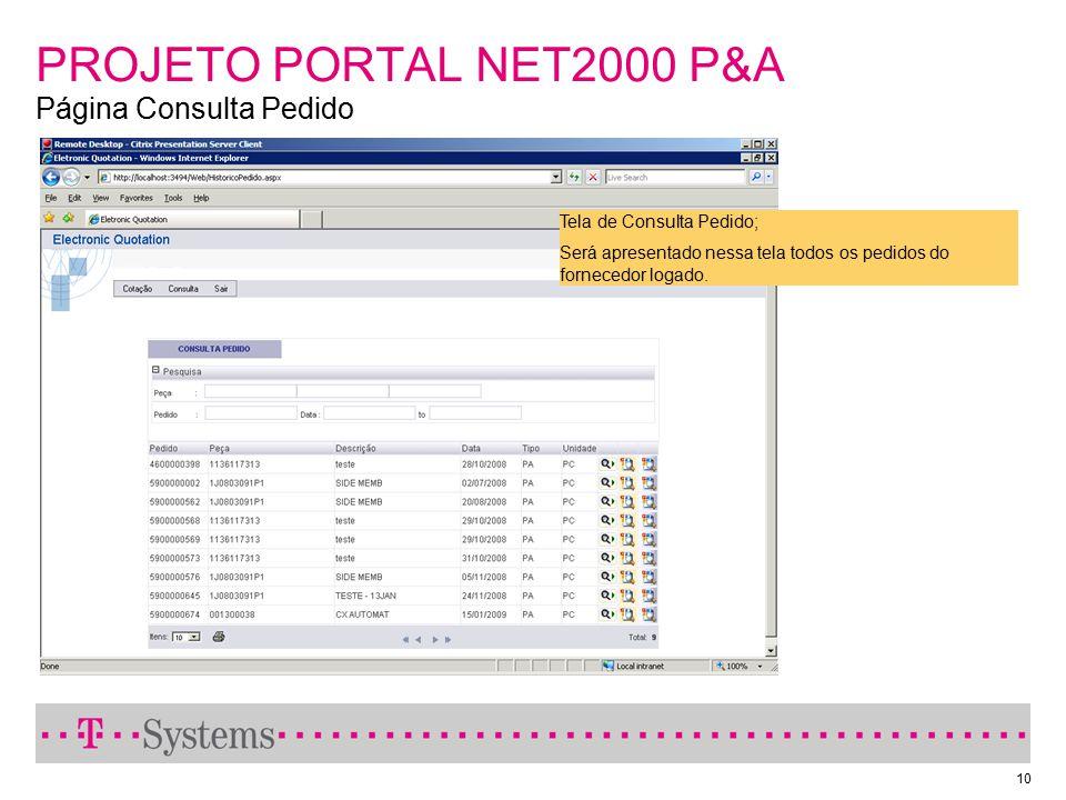 10 PROJETO PORTAL NET2000 P&A Página Consulta Pedido Tela de Consulta Pedido; Será apresentado nessa tela todos os pedidos do fornecedor logado.