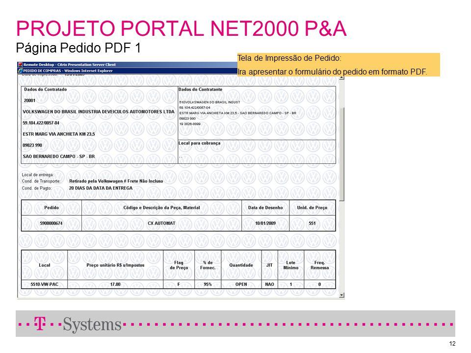 12 PROJETO PORTAL NET2000 P&A Página Pedido PDF 1 Tela de Impressão de Pedido: Ira apresentar o formulário do pedido em formato PDF.