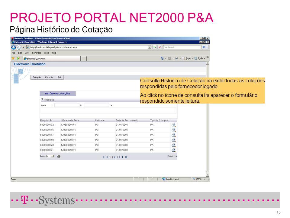 15 PROJETO PORTAL NET2000 P&A Página Histórico de Cotação Consulta Histórico de Cotação ira exibir todas as cotações respondidas pelo fornecedor logad