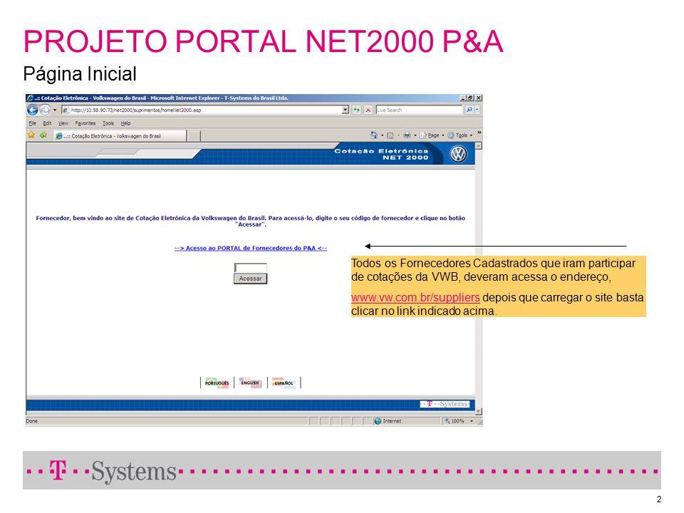 2 PROJETO PORTAL NET2000 P&A Página Inicial Todos os Fornecedores Cadastrados que iram participar de cotações da VWB, deveram acessa o endereço, www.v