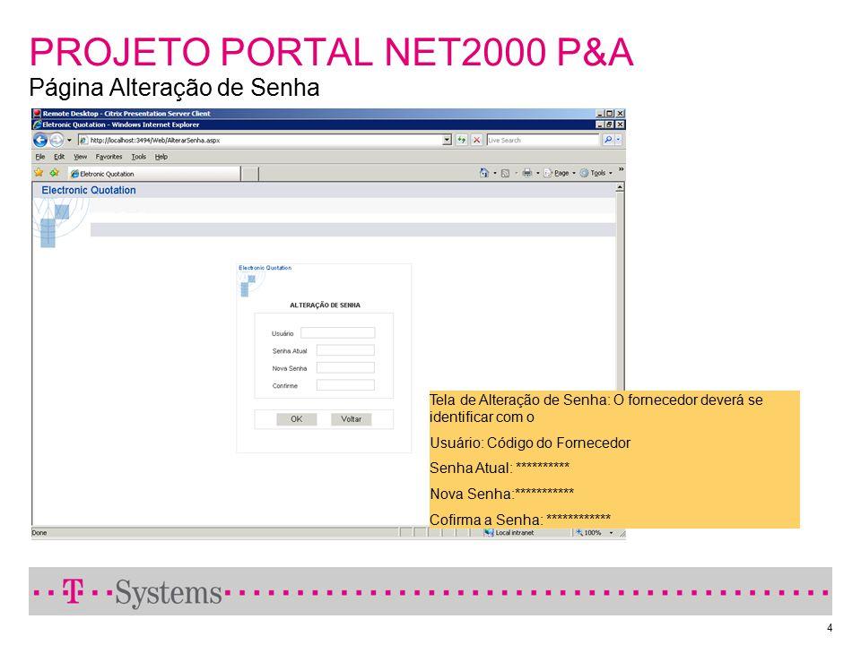 4 PROJETO PORTAL NET2000 P&A Página Alteração de Senha Tela de Alteração de Senha: O fornecedor deverá se identificar com o Usuário: Código do Fornece
