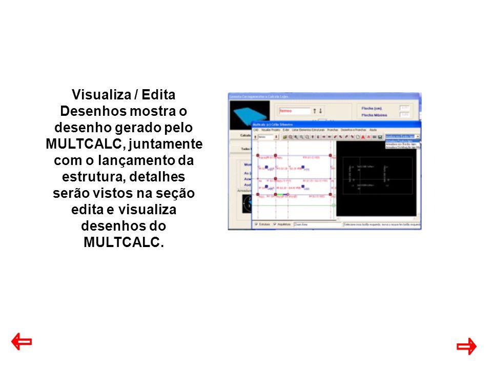 Visualiza / Edita Desenhos mostra o desenho gerado pelo MULTCALC, juntamente com o lançamento da estrutura, detalhes serão vistos na seção edita e visualiza desenhos do MULTCALC.