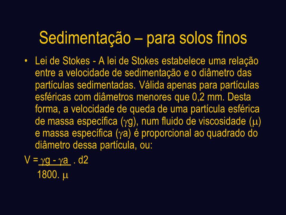 Sedimentação – para solos finos Lei de Stokes - A lei de Stokes estabelece uma relação entre a velocidade de sedimentação e o diâmetro das partículas sedimentadas.