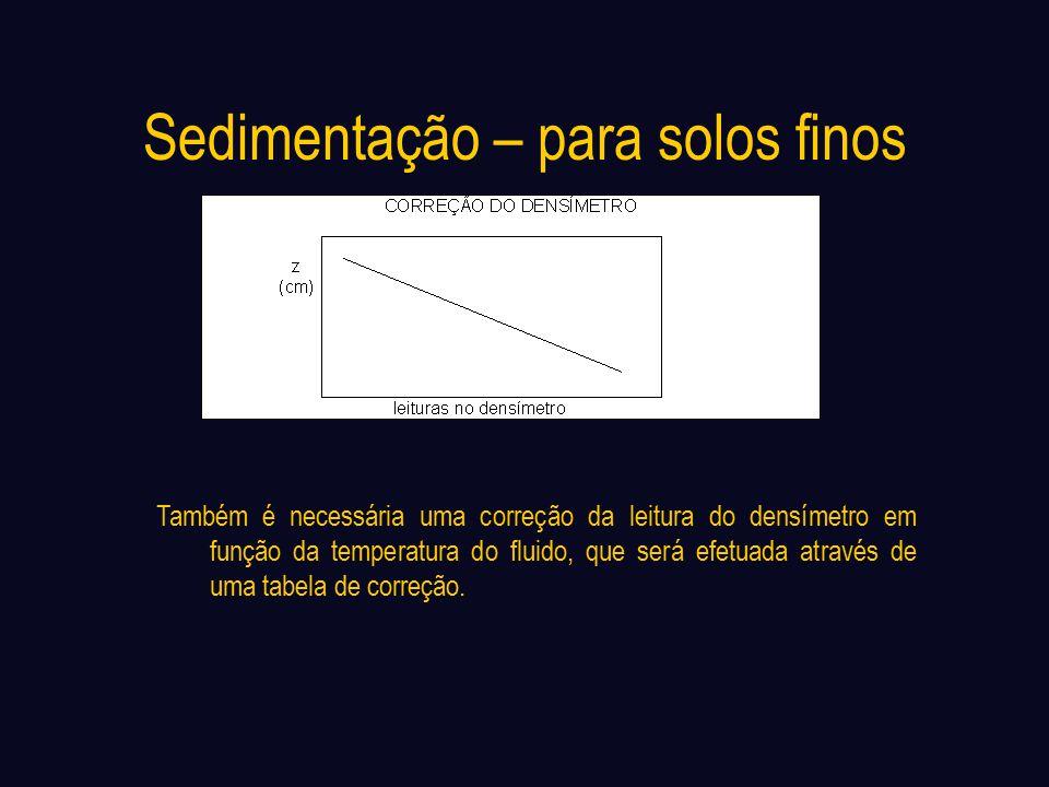 Sedimentação – para solos finos Também é necessária uma correção da leitura do densímetro em função da temperatura do fluido, que será efetuada através de uma tabela de correção.