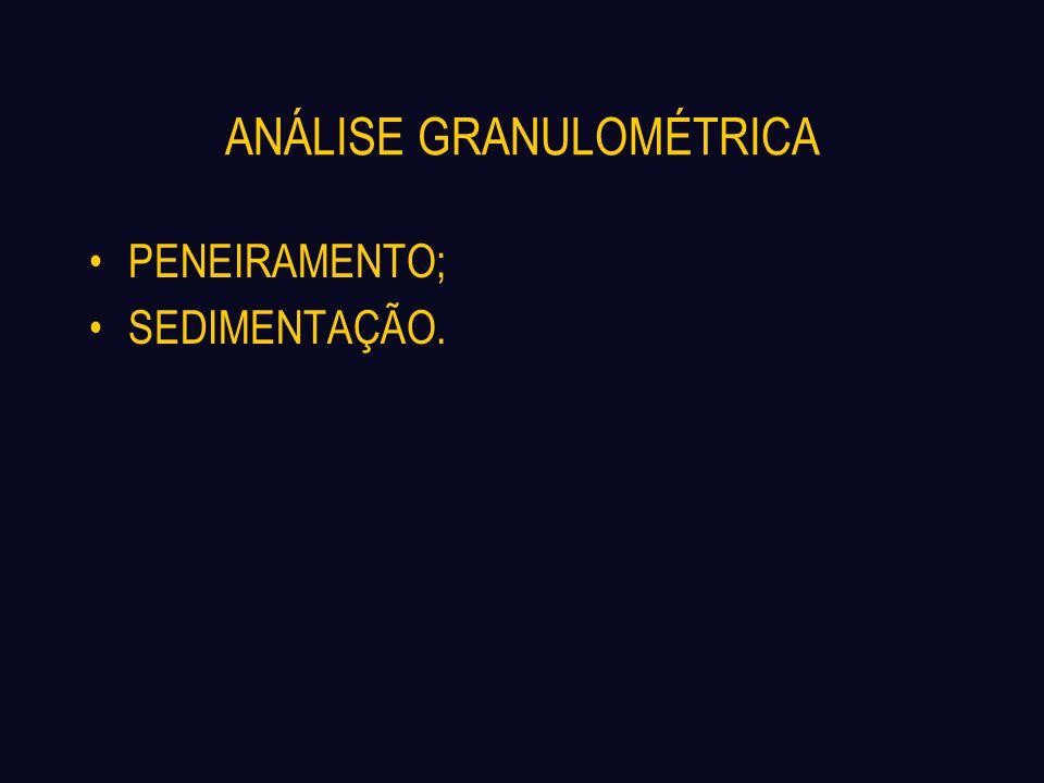 ANÁLISE GRANULOMÉTRICA PARÂMETROS IMPORTANTES NA CURVA GRANULOMÉTRICA: Diâmetro Efetivo – D10; Coeficiente de Não Uniformidade – Cu = D60/D10; Coeficiente de Curvatura – Cc =.