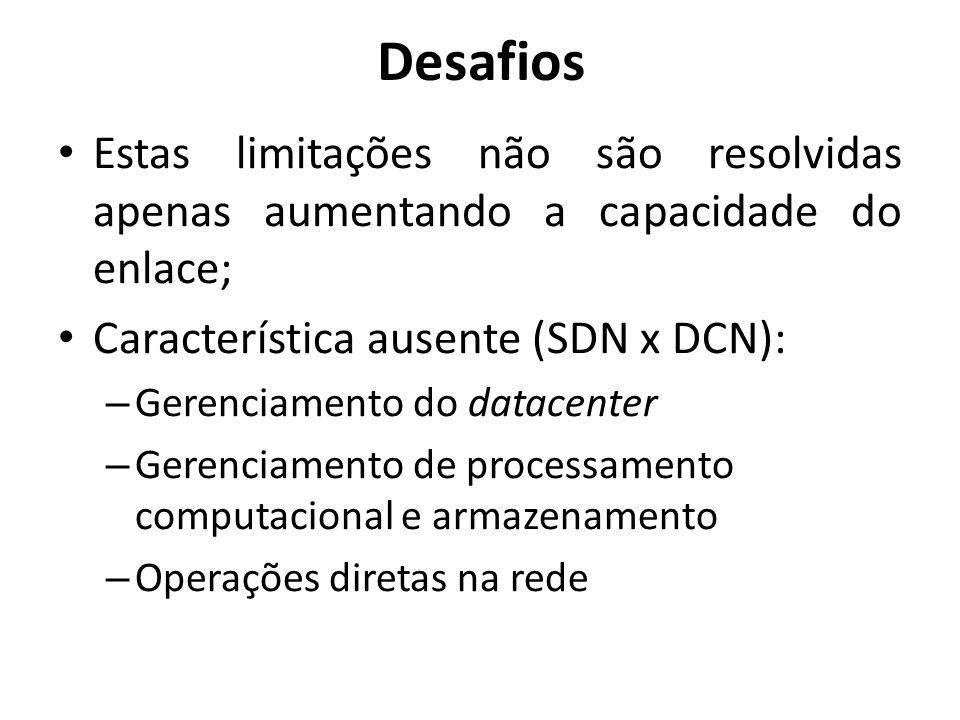 Estas limitações não são resolvidas apenas aumentando a capacidade do enlace; Característica ausente (SDN x DCN): – Gerenciamento do datacenter – Gere