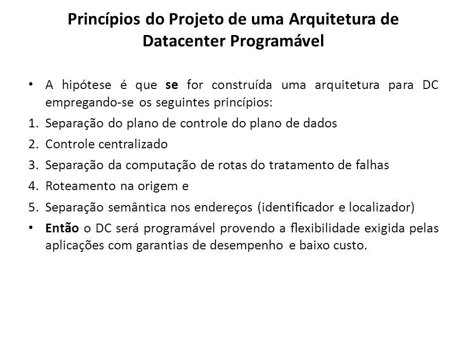 Princípios do Projeto de uma Arquitetura de Datacenter Programável A hipótese é que se for construída uma arquitetura para DC empregando-se os seguint