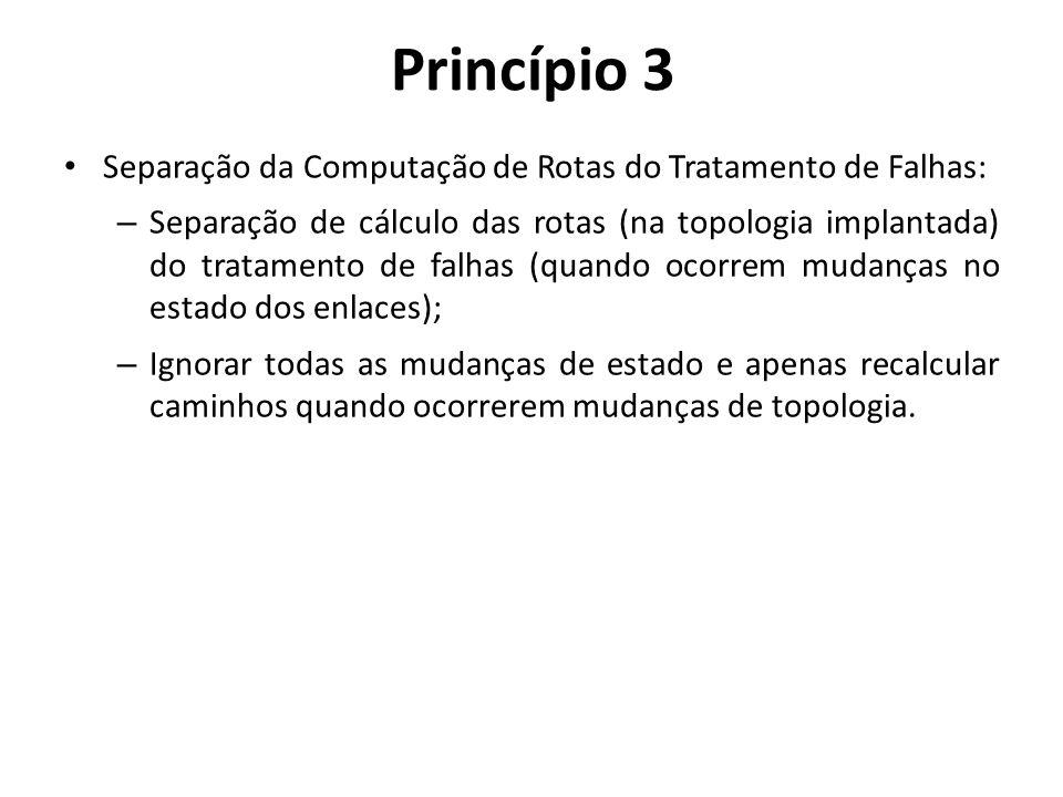 Separação da Computação de Rotas do Tratamento de Falhas: – Separação de cálculo das rotas (na topologia implantada) do tratamento de falhas (quando o