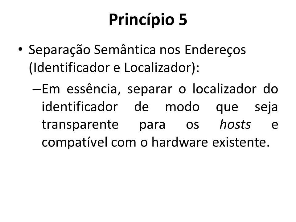 Princípio 5 Separação Semântica nos Endereços (Identificador e Localizador): – Em essência, separar o localizador do identificador de modo que seja tr