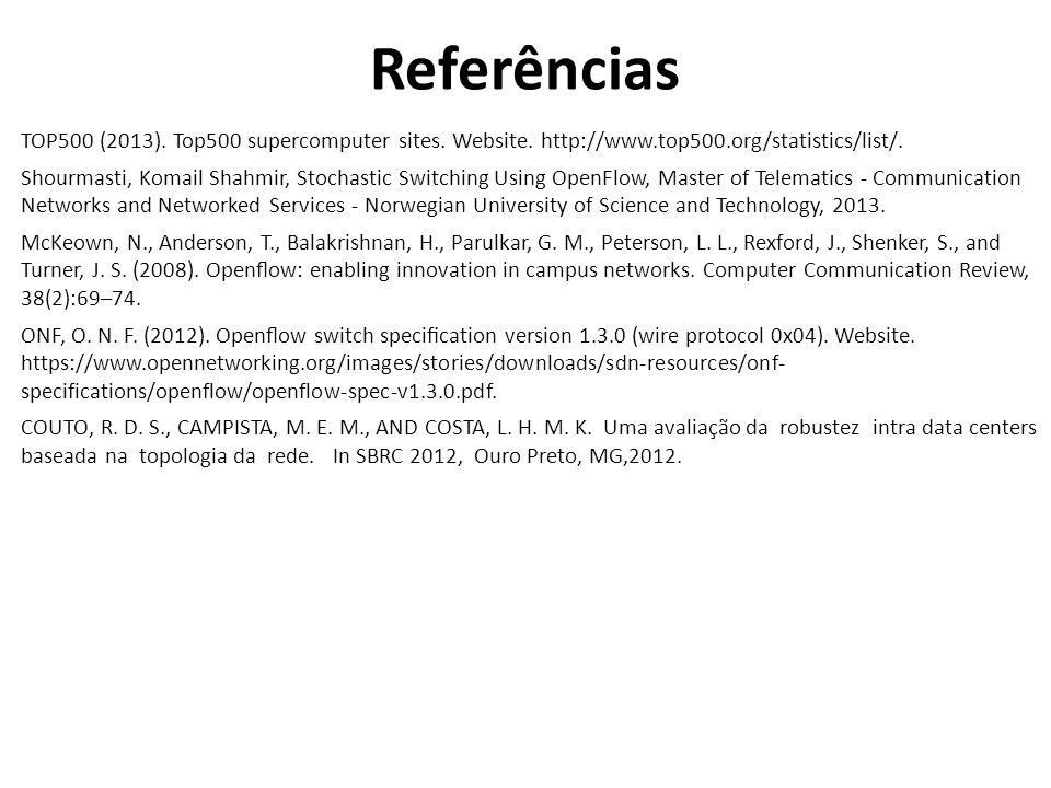 Referências TOP500 (2013). Top500 supercomputer sites. Website. http://www.top500.org/statistics/list/. Shourmasti, Komail Shahmir, Stochastic Switchi