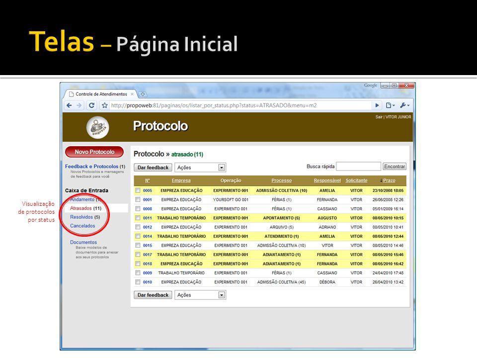 Visualização de protocolos por status