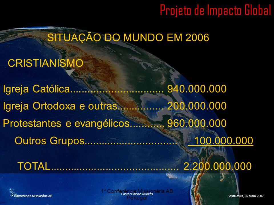 1ª Conferência Missionária AB Portugal Projeto de Impacto Global SITUAÇÃO DO MUNDO EM 2006 CRISTIANISMO Igreja Católica...............................