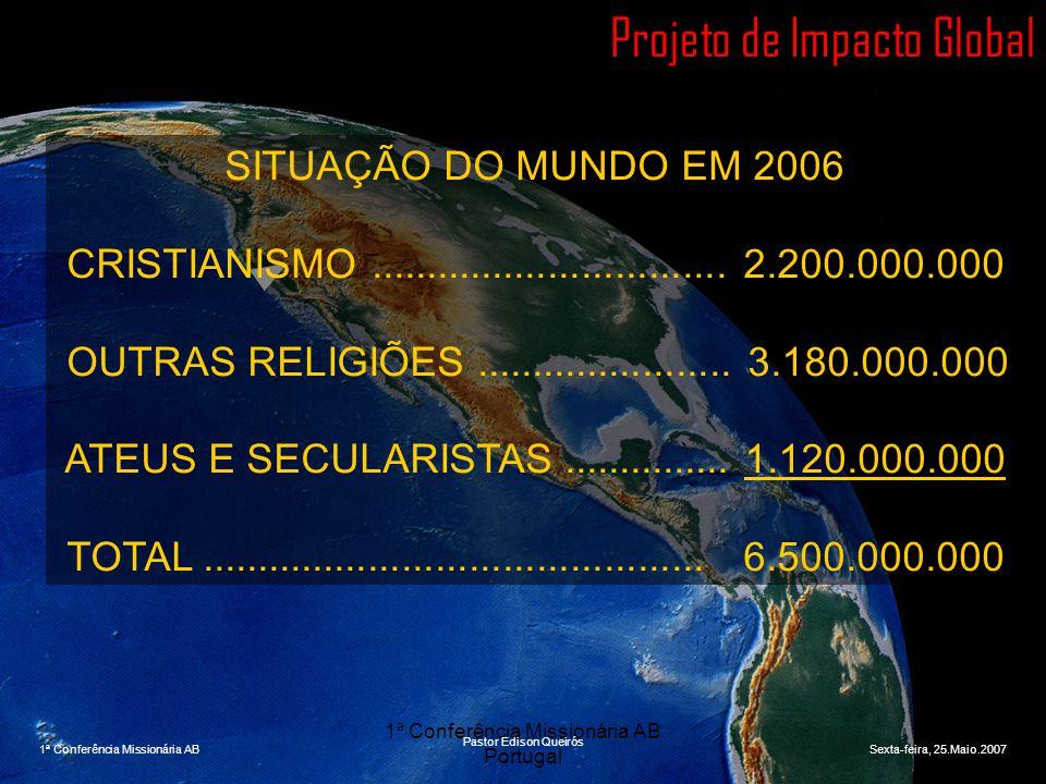 1ª Conferência Missionária AB Portugal Projeto de Impacto Global SITUAÇÃO DO MUNDO EM 2006 CRISTIANISMO................................ 2.200.000.000