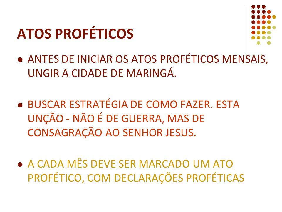 ANTES DE INICIAR OS ATOS PROFÉTICOS MENSAIS, UNGIR A CIDADE DE MARINGÁ.