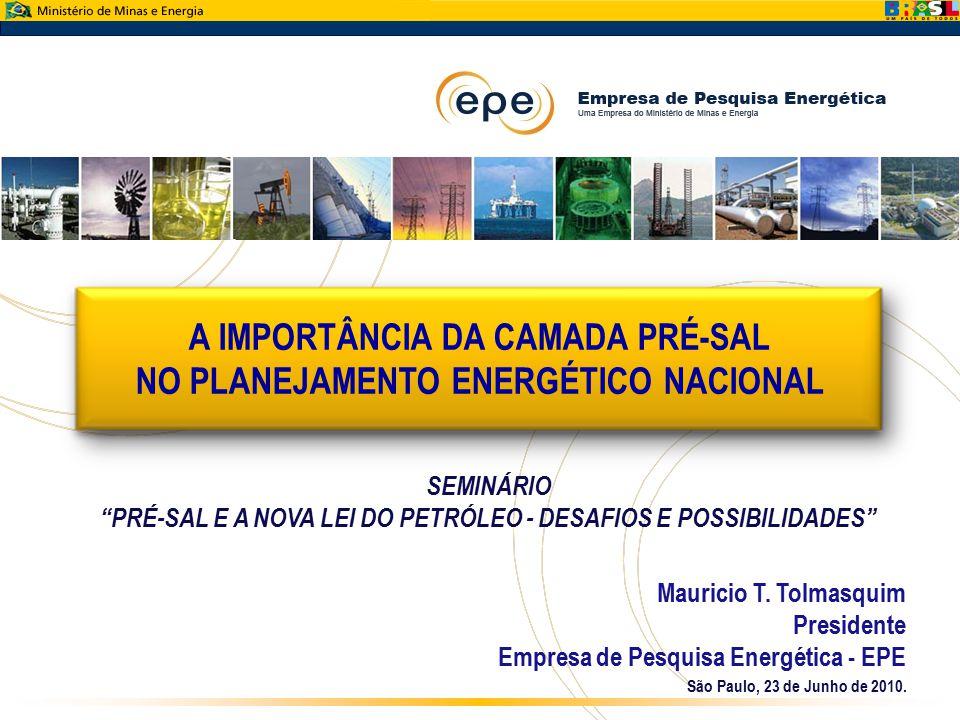 A IMPORTÂNCIA DA CAMADA PRÉ-SAL NO PLANEJAMENTO ENERGÉTICO NACIONAL São Paulo, 23 de Junho de 2010. Mauricio T. Tolmasquim Presidente Empresa de Pesqu