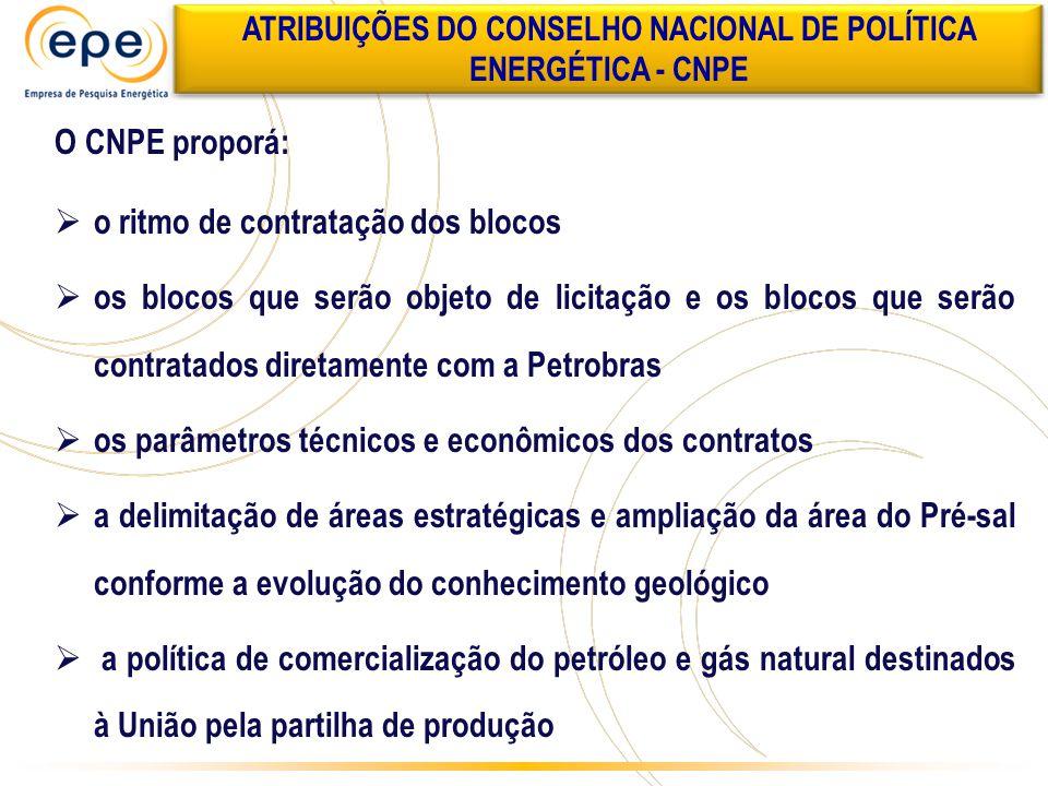 O CNPE proporá:  o ritmo de contratação dos blocos  os blocos que serão objeto de licitação e os blocos que serão contratados diretamente com a Petr