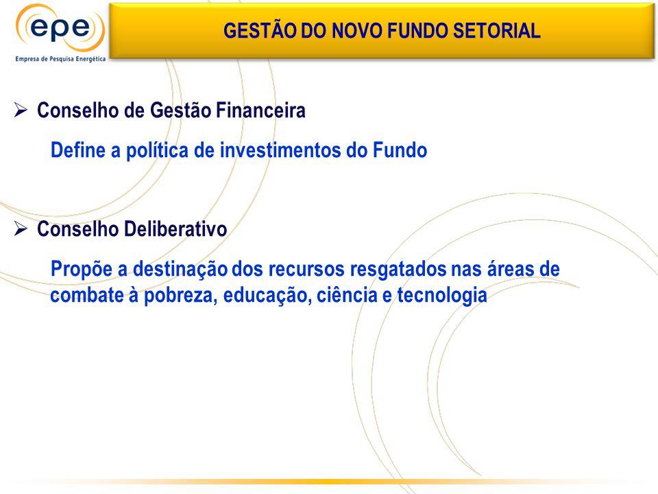  Conselho de Gestão Financeira Define a política de investimentos do Fundo  Conselho Deliberativo Propõe a destinação dos recursos resgatados nas ár