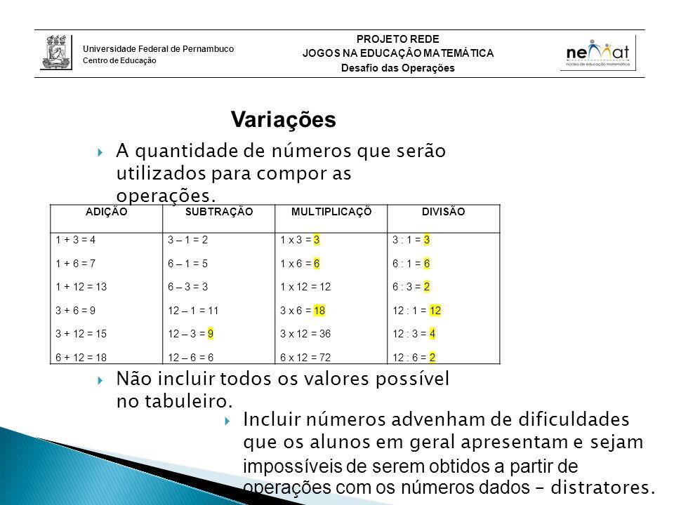 Universidade Federal de Pernambuco Centro de Educação PROJETO REDE JOGOS NA EDUCAÇÂO MATEMÁTICA Desafio das Operações Variações  A quantidade de números que serão utilizados para compor as operações.