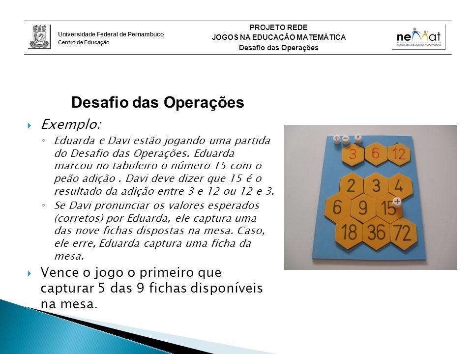 Universidade Federal de Pernambuco Centro de Educação PROJETO REDE JOGOS NA EDUCAÇÂO MATEMÁTICA Desafio das Operações  Exemplo: ◦ Eduarda e Davi estão jogando uma partida do Desafio das Operações.