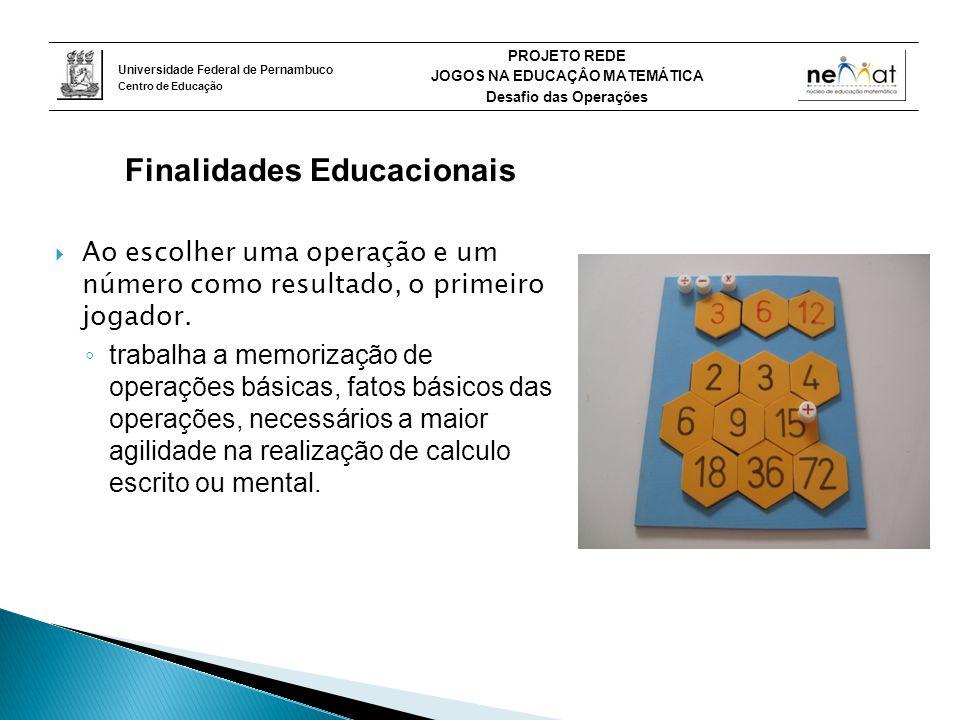 Universidade Federal de Pernambuco Centro de Educação PROJETO REDE JOGOS NA EDUCAÇÂO MATEMÁTICA Desafio das Operações Finalidades Educacionais  Ao escolher uma operação e um número como resultado, o primeiro jogador.