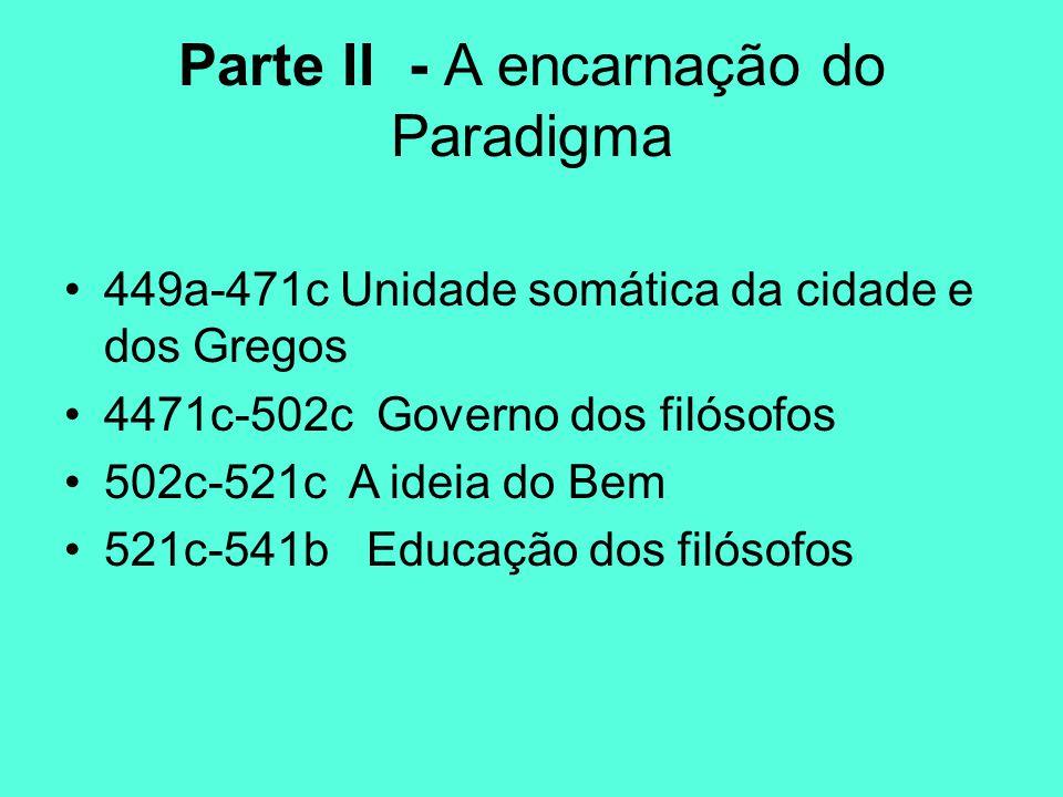 Parte II - A encarnação do Paradigma 449a-471c Unidade somática da cidade e dos Gregos 4471c-502c Governo dos filósofos 502c-521c A ideia do Bem 521c-