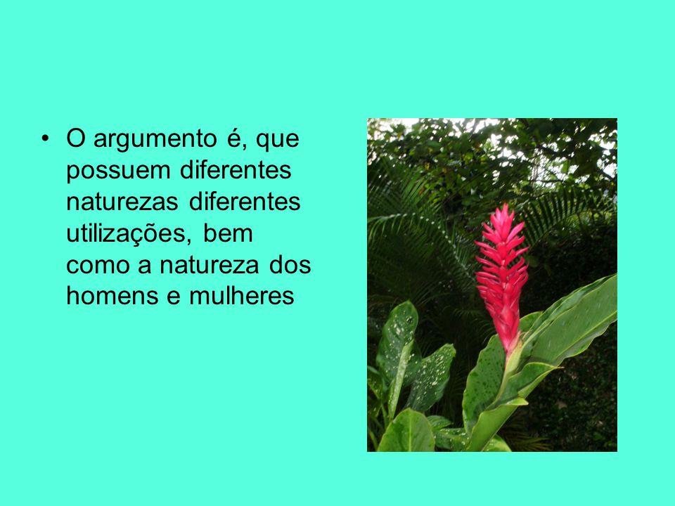 O argumento é, que possuem diferentes naturezas diferentes utilizações, bem como a natureza dos homens e mulheres