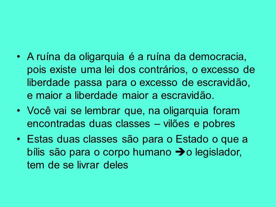 A ruína da oligarquia é a ruína da democracia, pois existe uma lei dos contrários, o excesso de liberdade passa para o excesso de escravidão, e maior