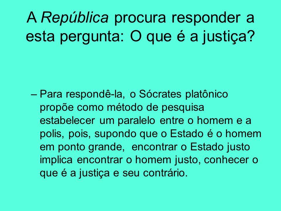 A República procura responder a esta pergunta: O que é a justiça? –Para respondê-la, o Sócrates platônico propõe como método de pesquisa estabelecer u