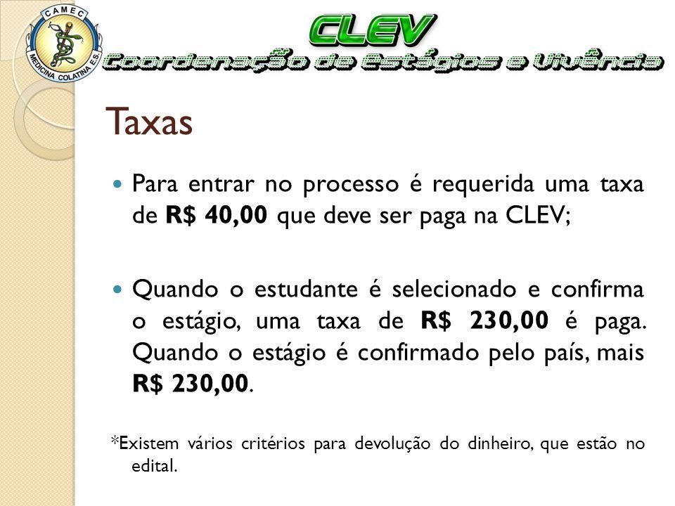 Taxas Para entrar no processo é requerida uma taxa de R$ 40,00 que deve ser paga na CLEV; Quando o estudante é selecionado e confirma o estágio, uma t