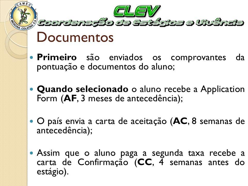 Documentos Primeiro são enviados os comprovantes da pontuação e documentos do aluno; Quando selecionado o aluno recebe a Application Form (AF, 3 meses