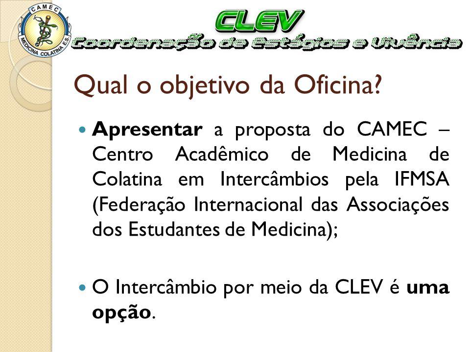 Qual o objetivo da Oficina? Apresentar a proposta do CAMEC – Centro Acadêmico de Medicina de Colatina em Intercâmbios pela IFMSA (Federação Internacio