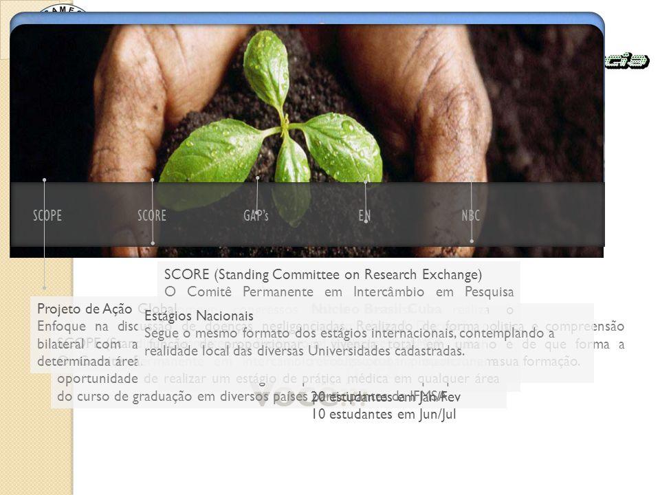 SCOPESCOREGAP'sENNBC Q ual é o ideal para Você ??? SCORE (Standing Committee on Research Exchange) O Comitê Permanente em Intercâmbio em Pesquisa prom