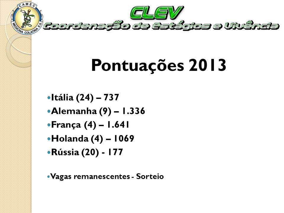 Pontuações 2013 Itália (24) – 737 Alemanha (9) – 1.336 França (4) – 1.641 Holanda (4) – 1069 Rússia (20) - 177 Vagas remanescentes - Sorteio