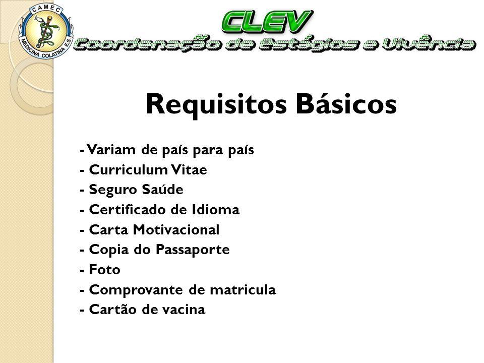 Requisitos Básicos - Variam de país para país - Curriculum Vitae - Seguro Saúde - Certificado de Idioma - Carta Motivacional - Copia do Passaporte - F
