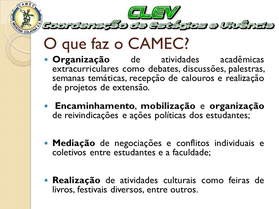 O que faz o CAMEC? Organização de atividades acadêmicas extracurriculares como debates, discussões, palestras, semanas temáticas, recepção de calouros