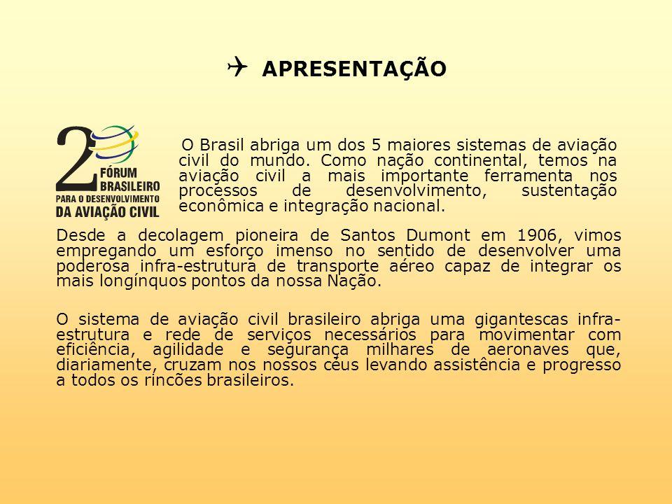  APRESENTAÇÃO O Brasil abriga um dos 5 maiores sistemas de aviação civil do mundo.
