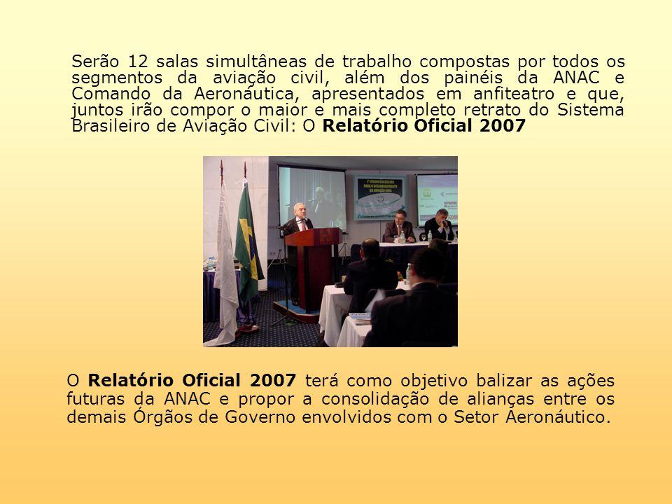 Serão 12 salas simultâneas de trabalho compostas por todos os segmentos da aviação civil, além dos painéis da ANAC e Comando da Aeronáutica, apresentados em anfiteatro e que, juntos irão compor o maior e mais completo retrato do Sistema Brasileiro de Aviação Civil: O Relatório Oficial 2007 O Relatório Oficial 2007 terá como objetivo balizar as ações futuras da ANAC e propor a consolidação de alianças entre os demais Órgãos de Governo envolvidos com o Setor Aeronáutico.