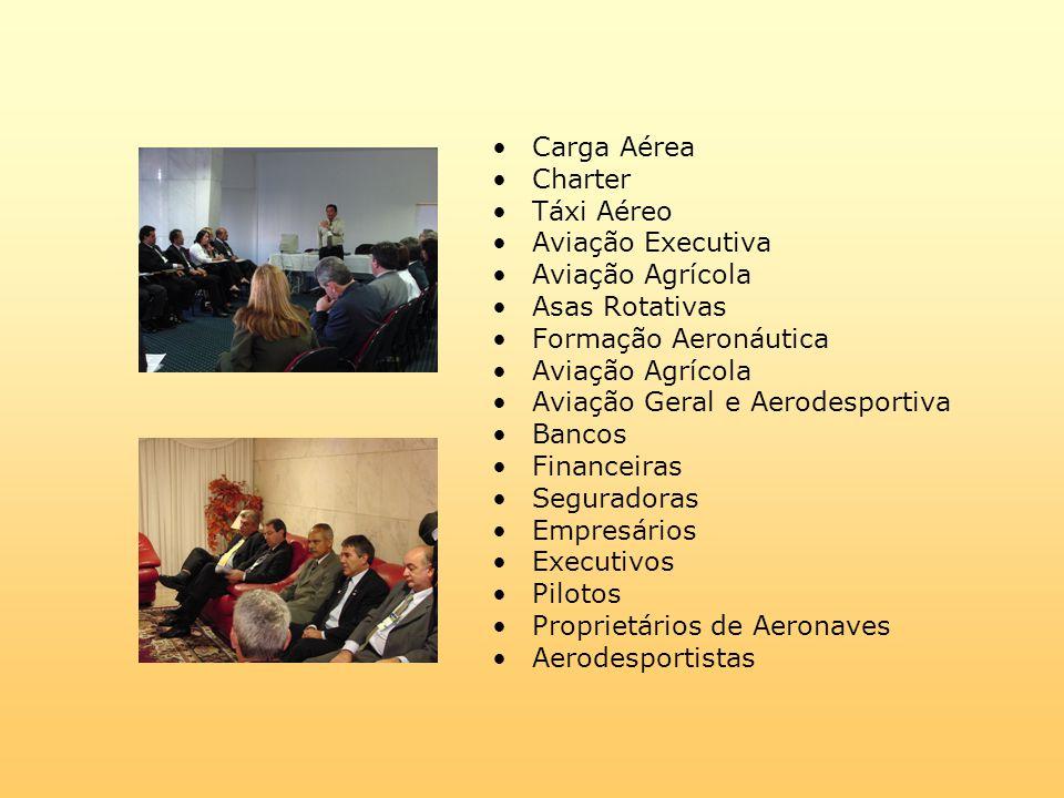 Carga Aérea Charter Táxi Aéreo Aviação Executiva Aviação Agrícola Asas Rotativas Formação Aeronáutica Aviação Agrícola Aviação Geral e Aerodesportiva Bancos Financeiras Seguradoras Empresários Executivos Pilotos Proprietários de Aeronaves Aerodesportistas