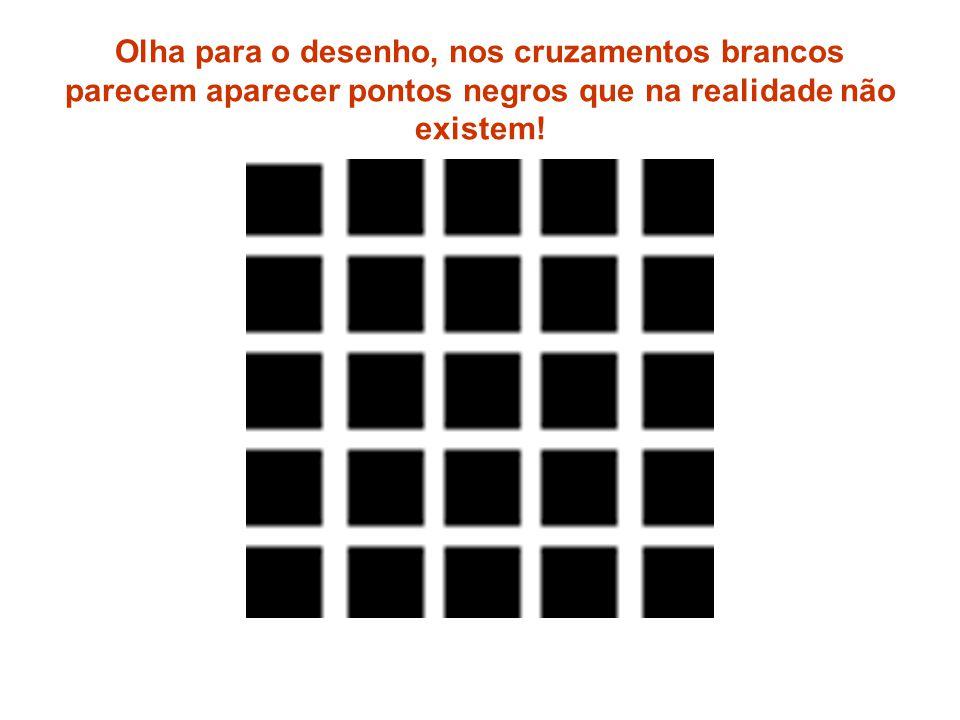 Olha para o desenho, nos cruzamentos brancos parecem aparecer pontos negros que na realidade não existem!