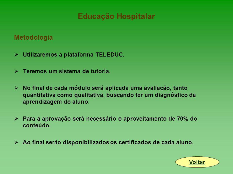 Educação Hospitalar Metodologia  Utilizaremos a plataforma TELEDUC.