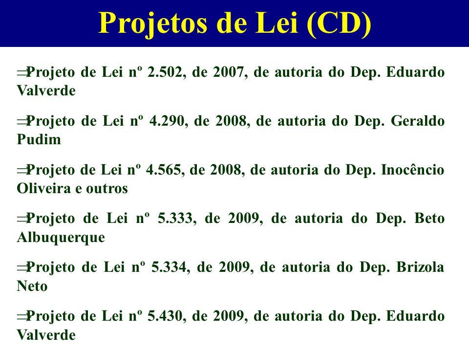 Projetos de Lei (CD)  Projeto de Lei nº 2.502, de 2007, de autoria do Dep. Eduardo Valverde  Projeto de Lei nº 4.290, de 2008, de autoria do Dep. Ge