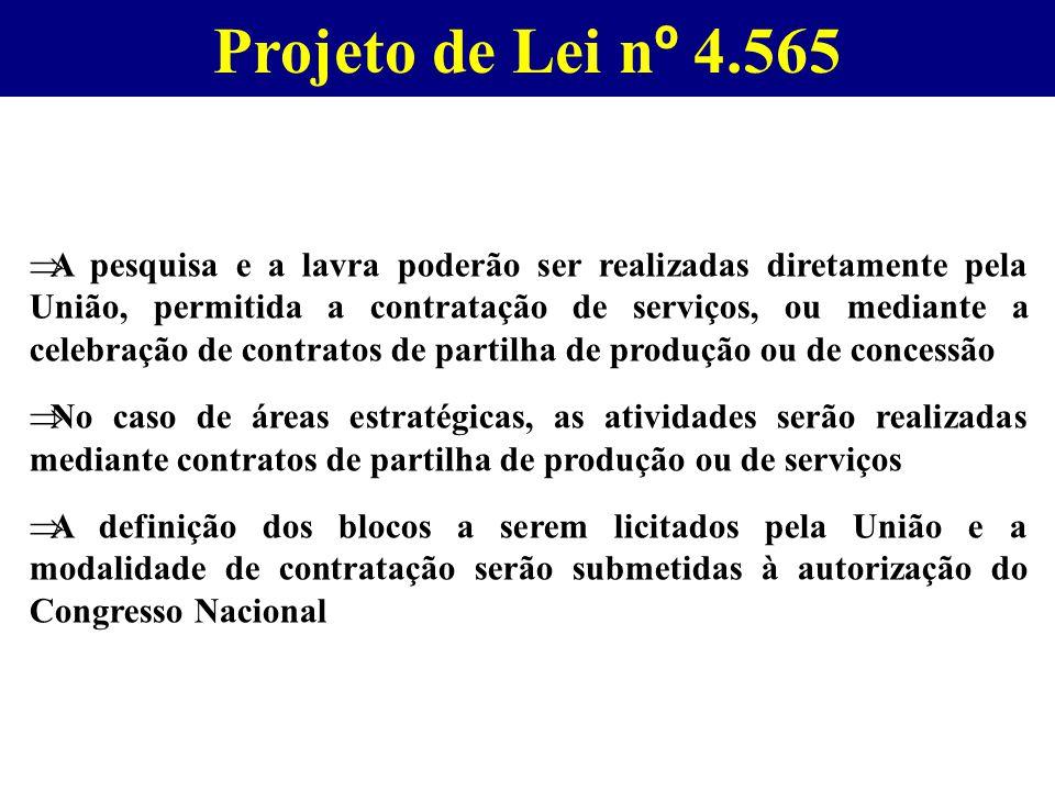 Projeto de Lei n º 4.565  A pesquisa e a lavra poderão ser realizadas diretamente pela União, permitida a contratação de serviços, ou mediante a cele