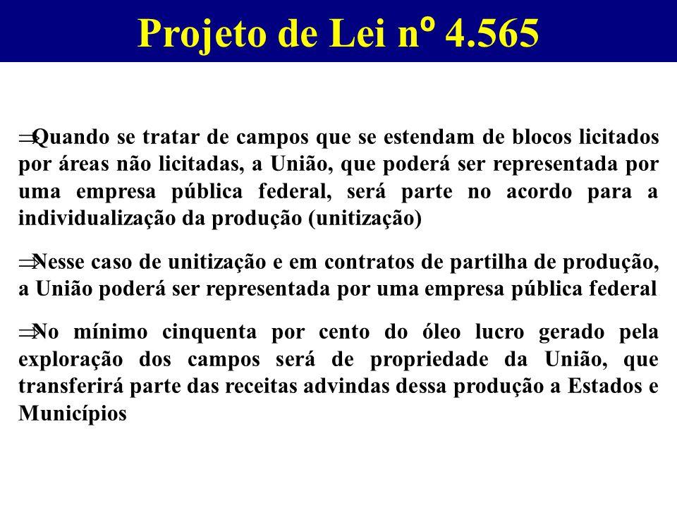 Projeto de Lei n º 4.565  Quando se tratar de campos que se estendam de blocos licitados por áreas não licitadas, a União, que poderá ser representad