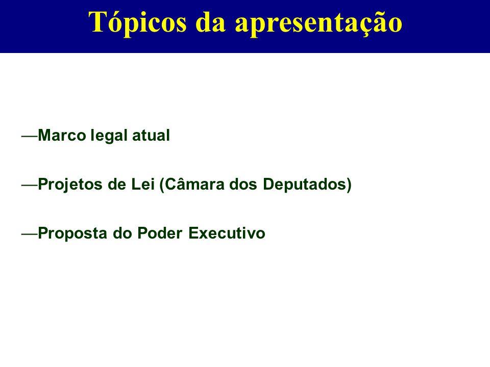—Marco legal atual —Projetos de Lei (Câmara dos Deputados) —Proposta do Poder Executivo Tópicos da apresentação